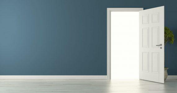 white internal door open