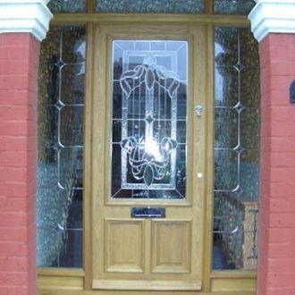 wooden front door pre glazed