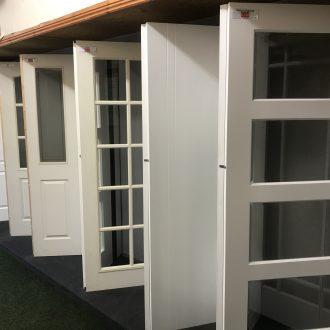white doors in City Glass & Doors showroom