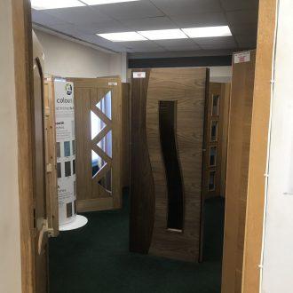 doors in City Glass & Doors showroom